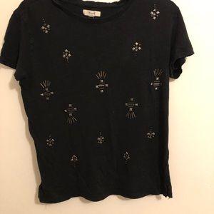 Madewell Tops - Madewell Black Linen Jeweled Stud Shirt